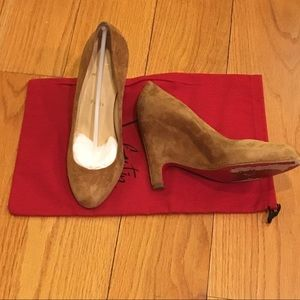 Christian Louboutin tan suede wedges